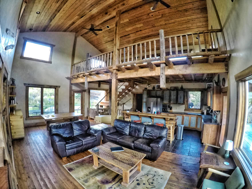 yellowstone national park lodging - sunny slope cabin living room