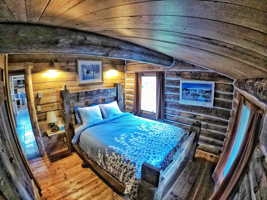 yellowstone national park lodging - sunny slope cabin bedroom